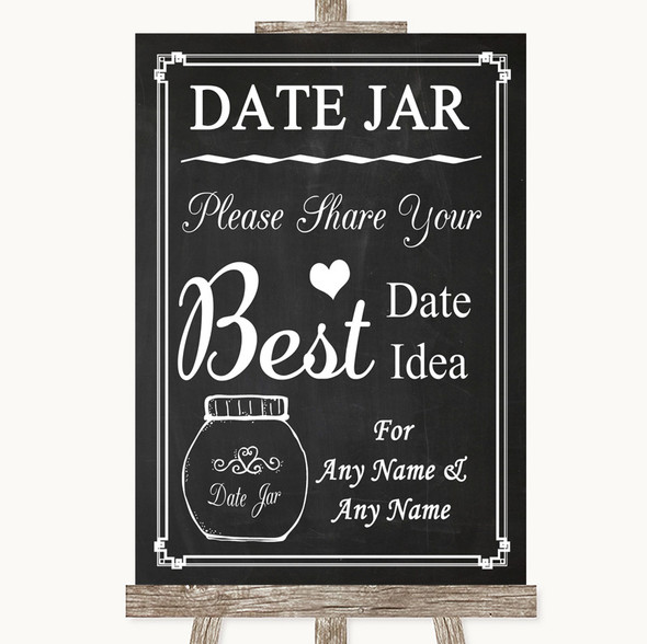 Chalk Style Date Jar Guestbook Personalised Wedding Sign