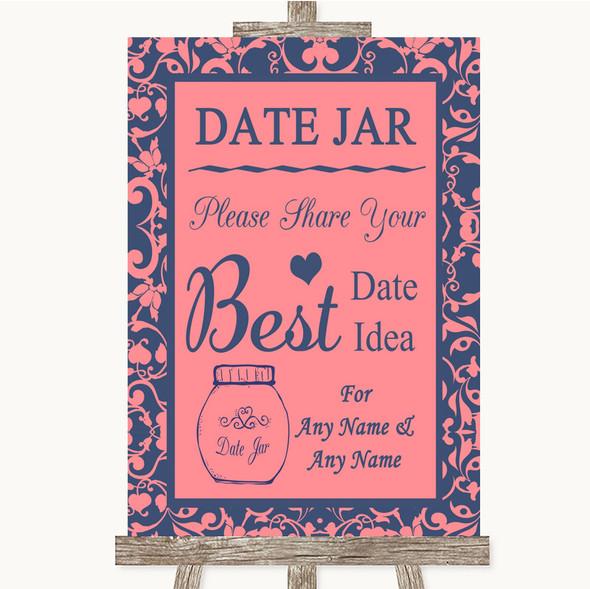 Coral Pink & Blue Date Jar Guestbook Personalised Wedding Sign