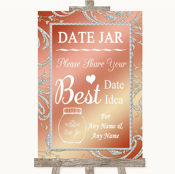Coral Pink Date Jar Guestbook Personalised Wedding Sign