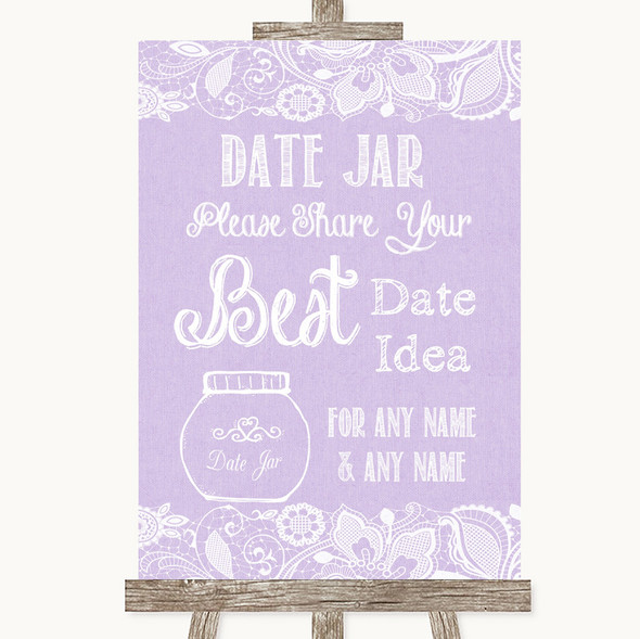 Lilac Burlap & Lace Date Jar Guestbook Personalised Wedding Sign