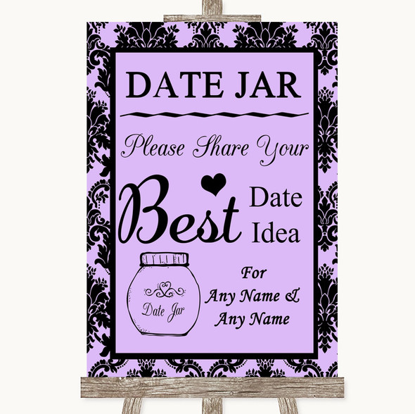 Lilac Damask Date Jar Guestbook Personalised Wedding Sign