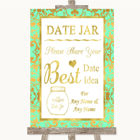 Mint Green & Gold Date Jar Guestbook Personalised Wedding Sign