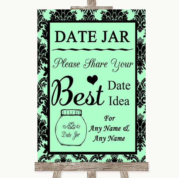 Mint Green Damask Date Jar Guestbook Personalised Wedding Sign