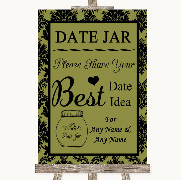 Olive Green Damask Date Jar Guestbook Personalised Wedding Sign
