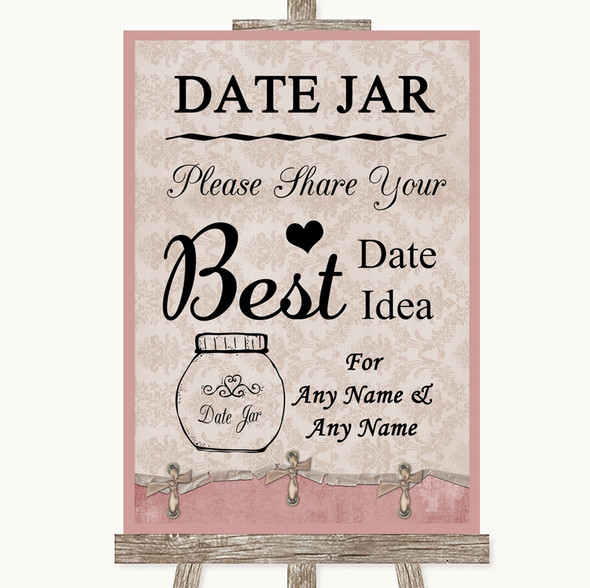 Pink Shabby Chic Date Jar Guestbook Personalised Wedding Sign