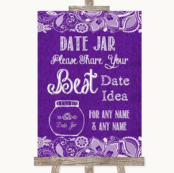 Purple Burlap & Lace Date Jar Guestbook Personalised Wedding Sign