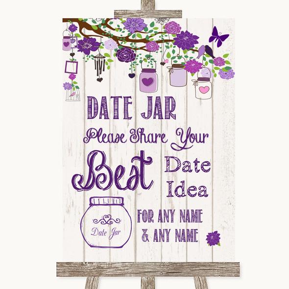 Purple Rustic Wood Date Jar Guestbook Personalised Wedding Sign