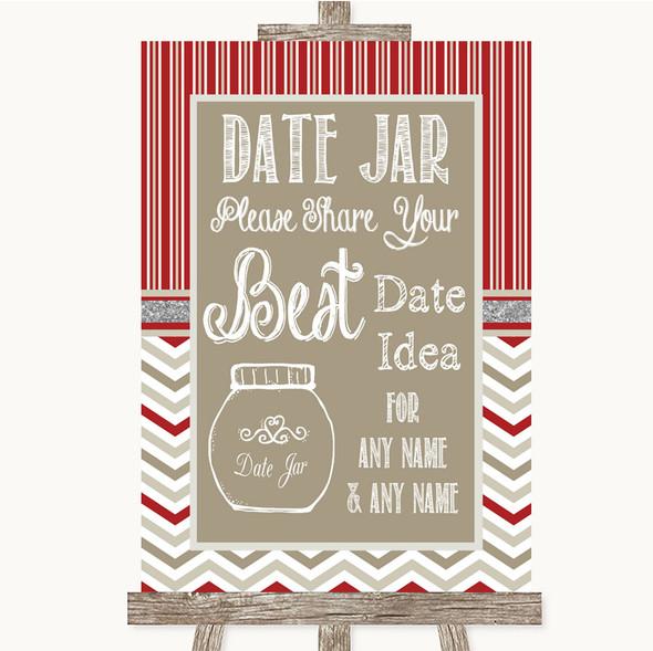 Red & Grey Winter Date Jar Guestbook Personalised Wedding Sign