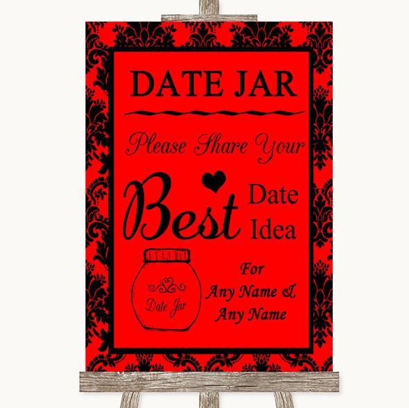 Red Damask Date Jar Guestbook Personalised Wedding Sign