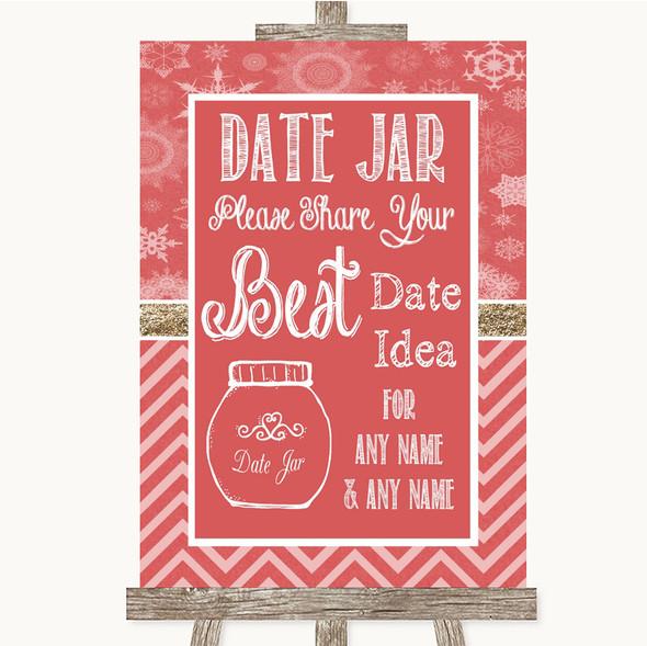 Red Winter Date Jar Guestbook Personalised Wedding Sign