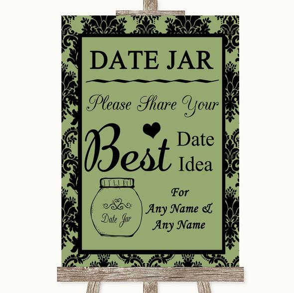 Sage Green Damask Date Jar Guestbook Personalised Wedding Sign