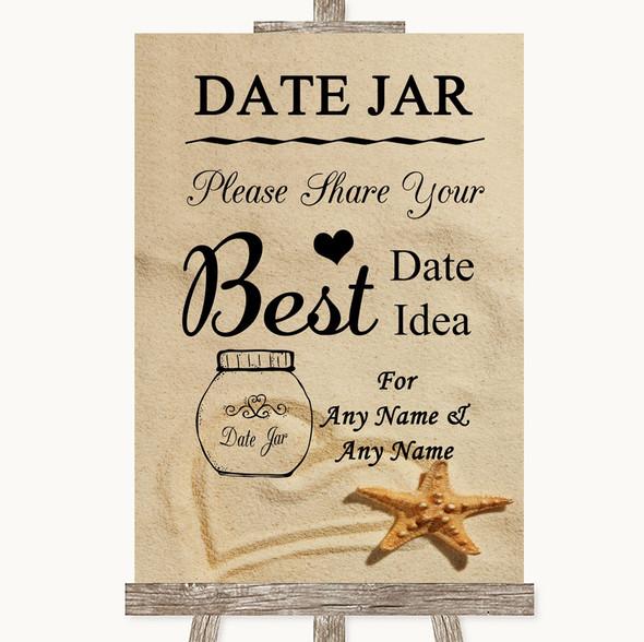 Sandy Beach Date Jar Guestbook Personalised Wedding Sign