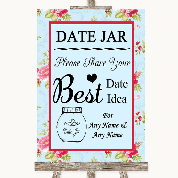 Shabby Chic Floral Date Jar Guestbook Personalised Wedding Sign