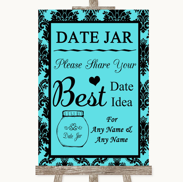 Tiffany Blue Damask Date Jar Guestbook Personalised Wedding Sign