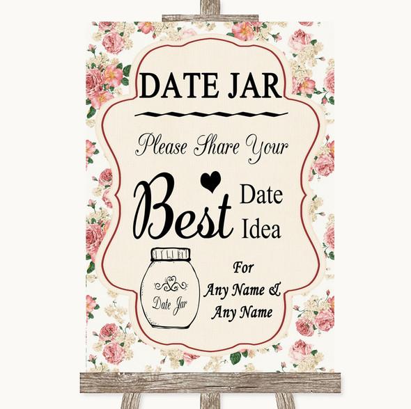 Vintage Roses Date Jar Guestbook Personalised Wedding Sign