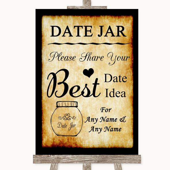 Western Date Jar Guestbook Personalised Wedding Sign