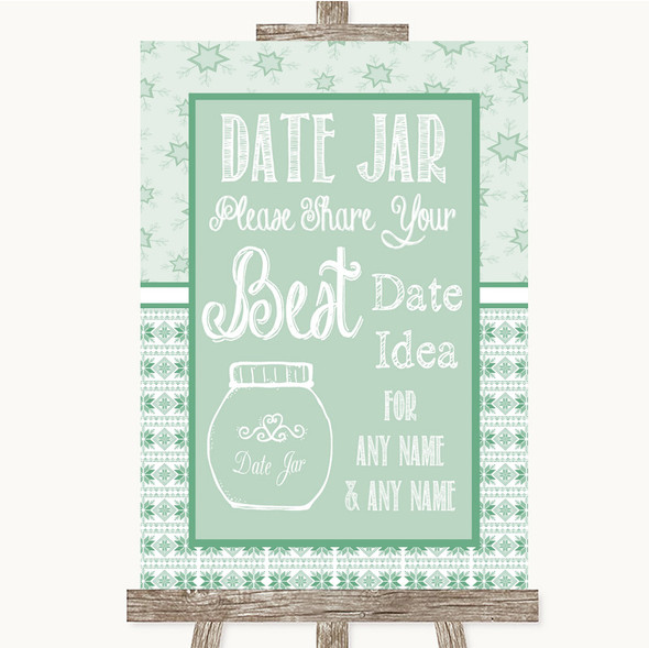 Winter Green Date Jar Guestbook Personalised Wedding Sign