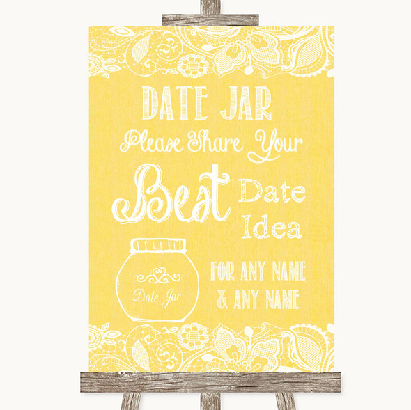 Yellow Burlap & Lace Date Jar Guestbook Personalised Wedding Sign