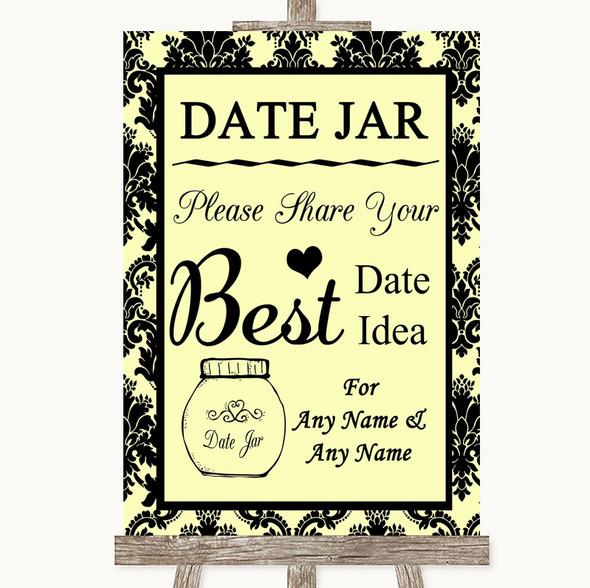 Yellow Damask Date Jar Guestbook Personalised Wedding Sign