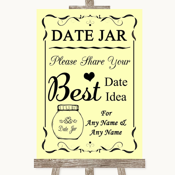 Yellow Date Jar Guestbook Personalised Wedding Sign