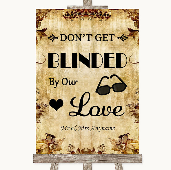 Autumn Vintage Don't Be Blinded Sunglasses Personalised Wedding Sign
