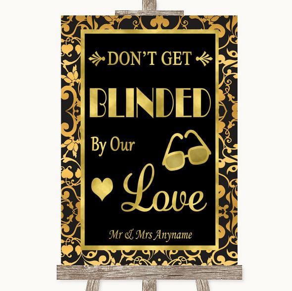 Black & Gold Damask Don't Be Blinded Sunglasses Personalised Wedding Sign