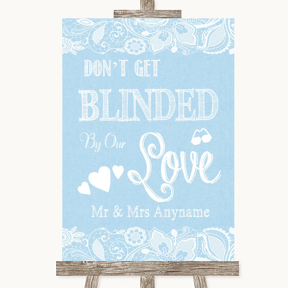 Blue Burlap & Lace Don't Be Blinded Sunglasses Personalised Wedding Sign
