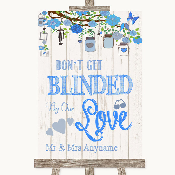 Blue Rustic Wood Don't Be Blinded Sunglasses Personalised Wedding Sign