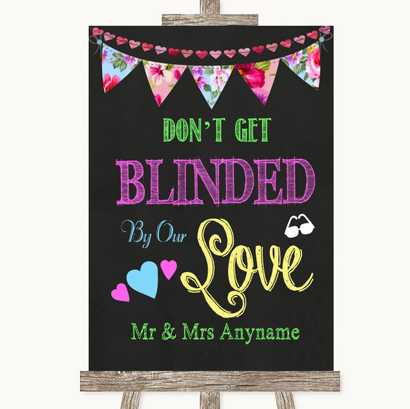 Bright Bunting Chalk Don't Be Blinded Sunglasses Personalised Wedding Sign