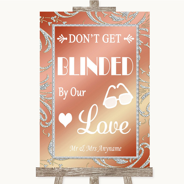 Coral Pink Don't Be Blinded Sunglasses Personalised Wedding Sign