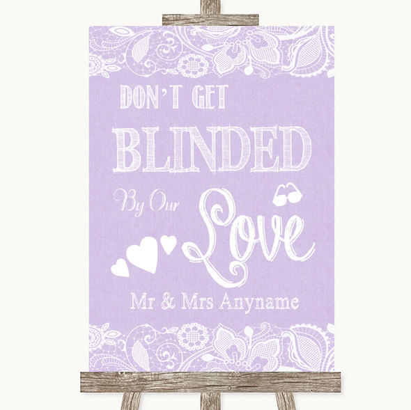 Lilac Burlap & Lace Don't Be Blinded Sunglasses Personalised Wedding Sign