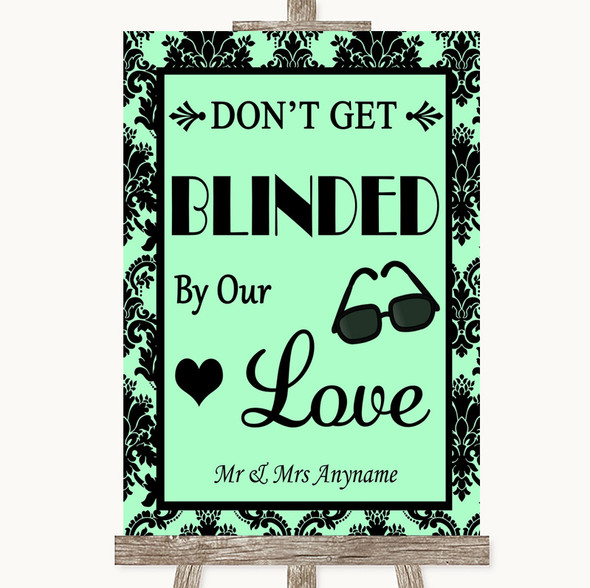 Mint Green Damask Don't Be Blinded Sunglasses Personalised Wedding Sign