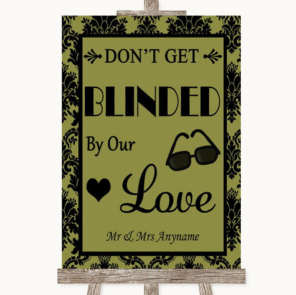 Olive Green Damask Don't Be Blinded Sunglasses Personalised Wedding Sign