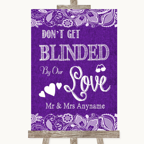 Purple Burlap & Lace Don't Be Blinded Sunglasses Personalised Wedding Sign