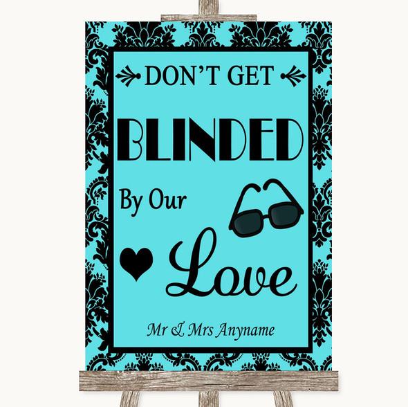 Tiffany Blue Damask Don't Be Blinded Sunglasses Personalised Wedding Sign