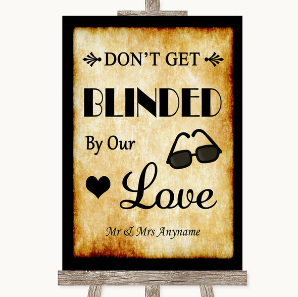 Western Don't Be Blinded Sunglasses Personalised Wedding Sign