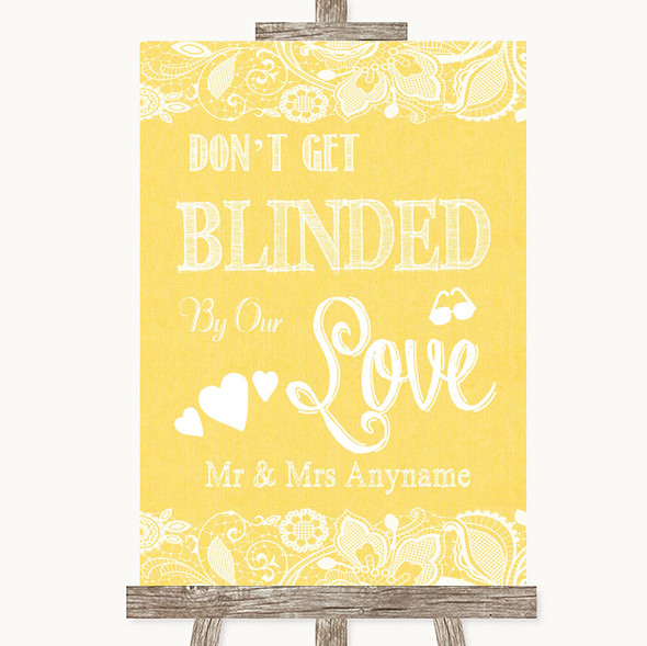 Yellow Burlap & Lace Don't Be Blinded Sunglasses Personalised Wedding Sign