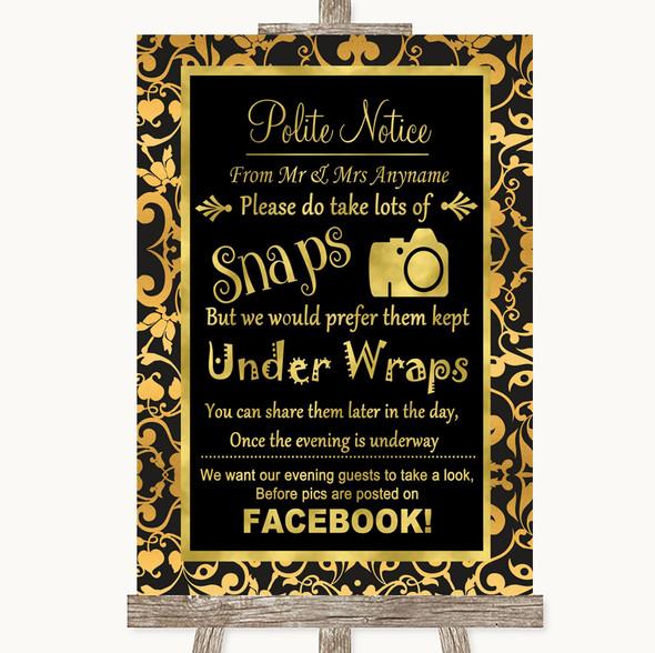 Black & Gold Damask Don't Post Photos Facebook Personalised Wedding Sign