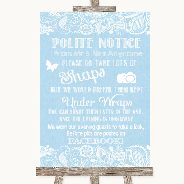 Blue Burlap & Lace Don't Post Photos Facebook Personalised Wedding Sign
