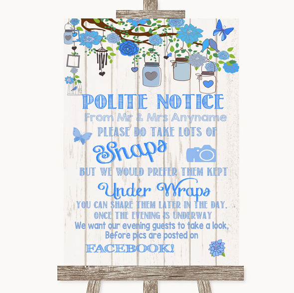 Blue Rustic Wood Don't Post Photos Facebook Personalised Wedding Sign
