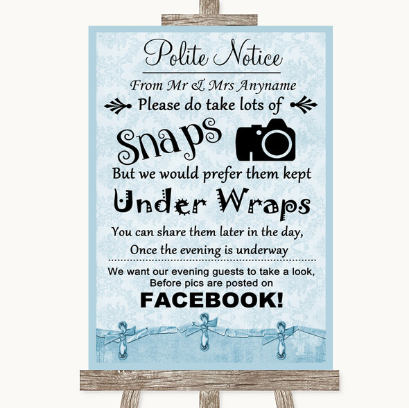 Blue Shabby Chic Don't Post Photos Facebook Personalised Wedding Sign