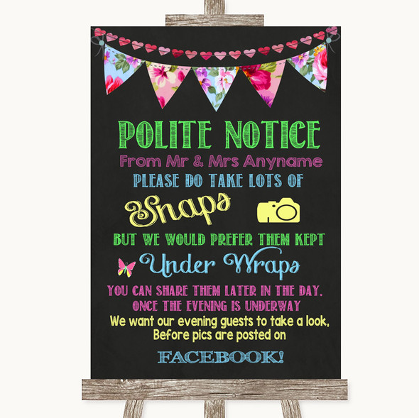 Bright Bunting Chalk Don't Post Photos Facebook Personalised Wedding Sign