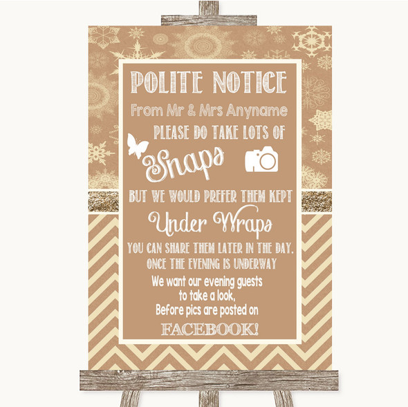 Brown Winter Don't Post Photos Facebook Personalised Wedding Sign