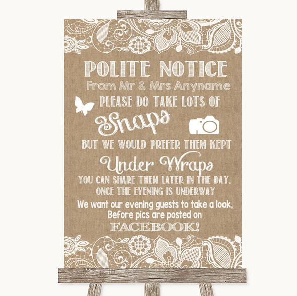 Burlap & Lace Don't Post Photos Facebook Personalised Wedding Sign
