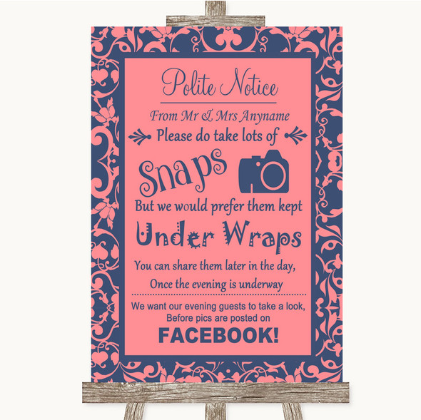 Coral Pink & Blue Don't Post Photos Facebook Personalised Wedding Sign