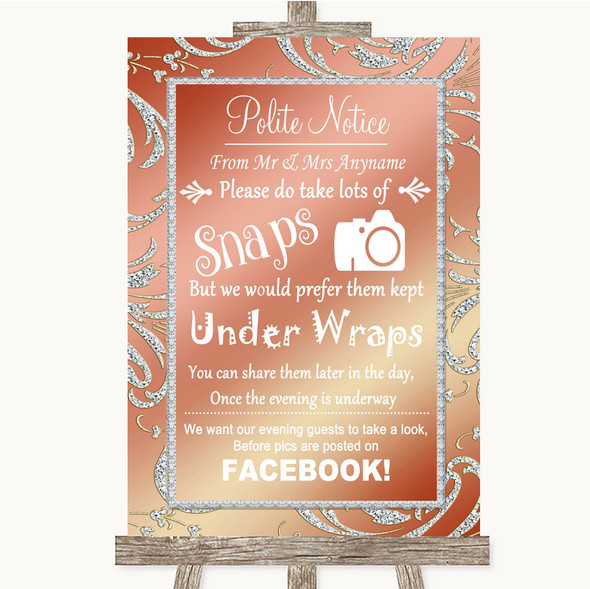 Coral Pink Don't Post Photos Facebook Personalised Wedding Sign