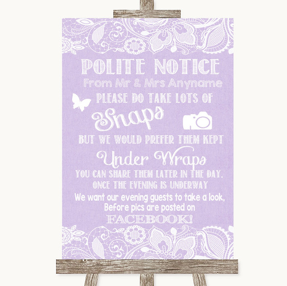 Lilac Burlap & Lace Don't Post Photos Facebook Personalised Wedding Sign