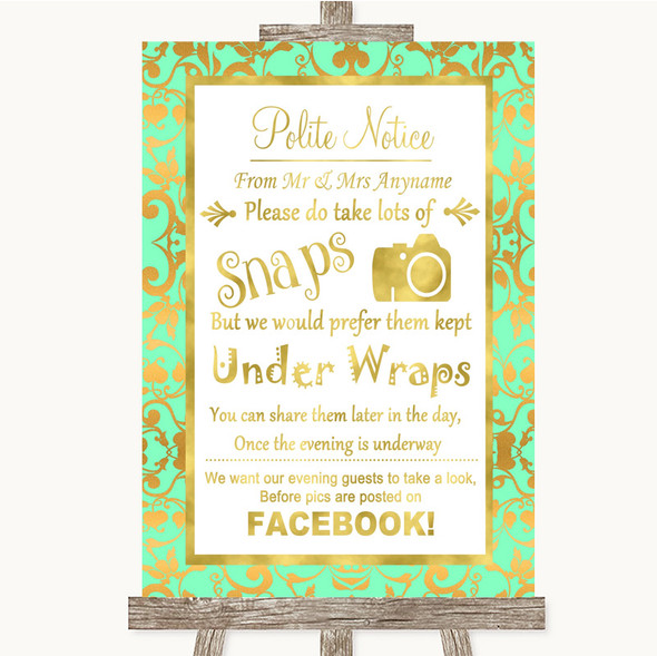 Mint Green & Gold Don't Post Photos Facebook Personalised Wedding Sign