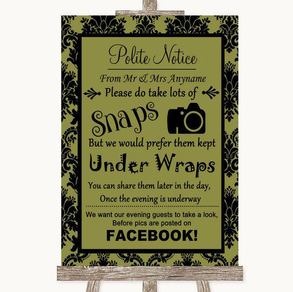 Olive Green Damask Don't Post Photos Facebook Personalised Wedding Sign