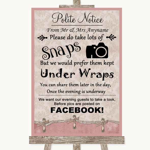 Pink Shabby Chic Don't Post Photos Facebook Personalised Wedding Sign